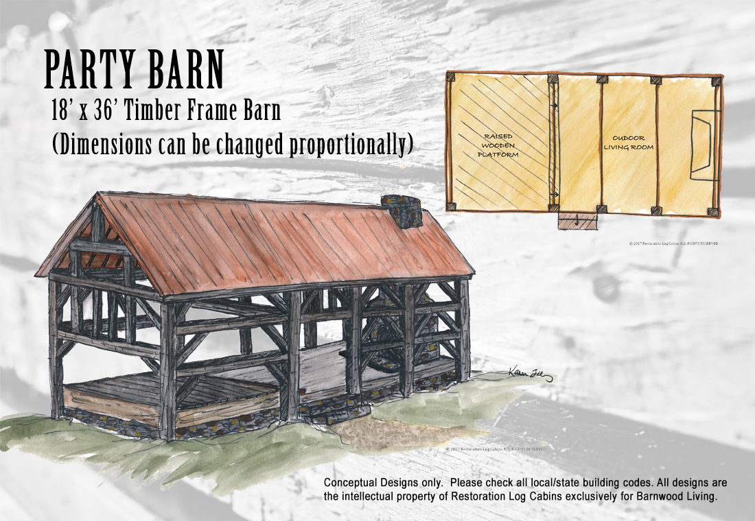 Design barnwood living for Party barn plans