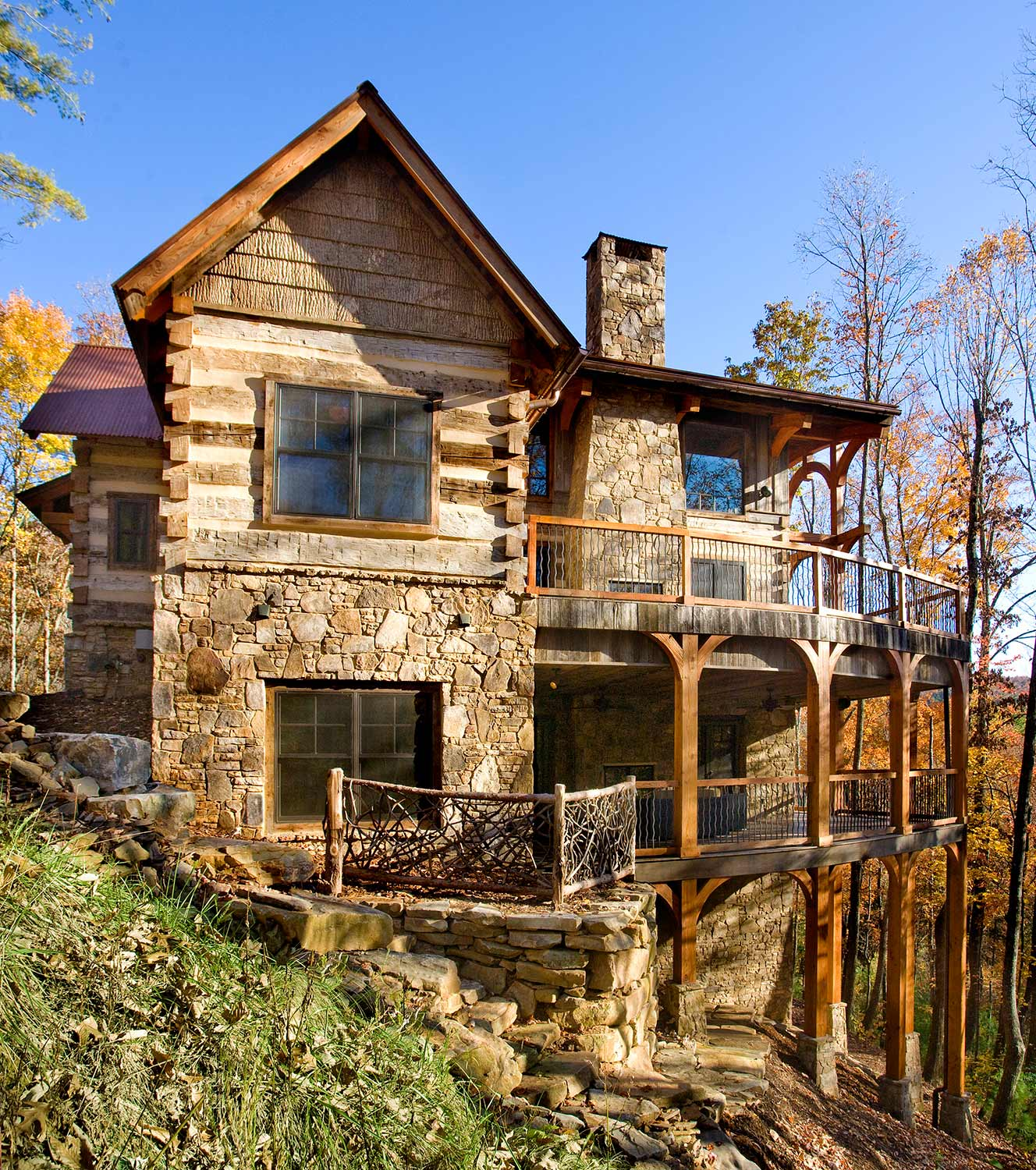 Homes barnwood living - Luxury log home plans with bold natural accents ...