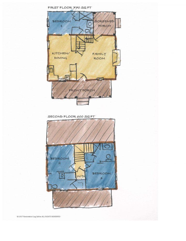 Baker Family Cabin Labeled Floor Plan