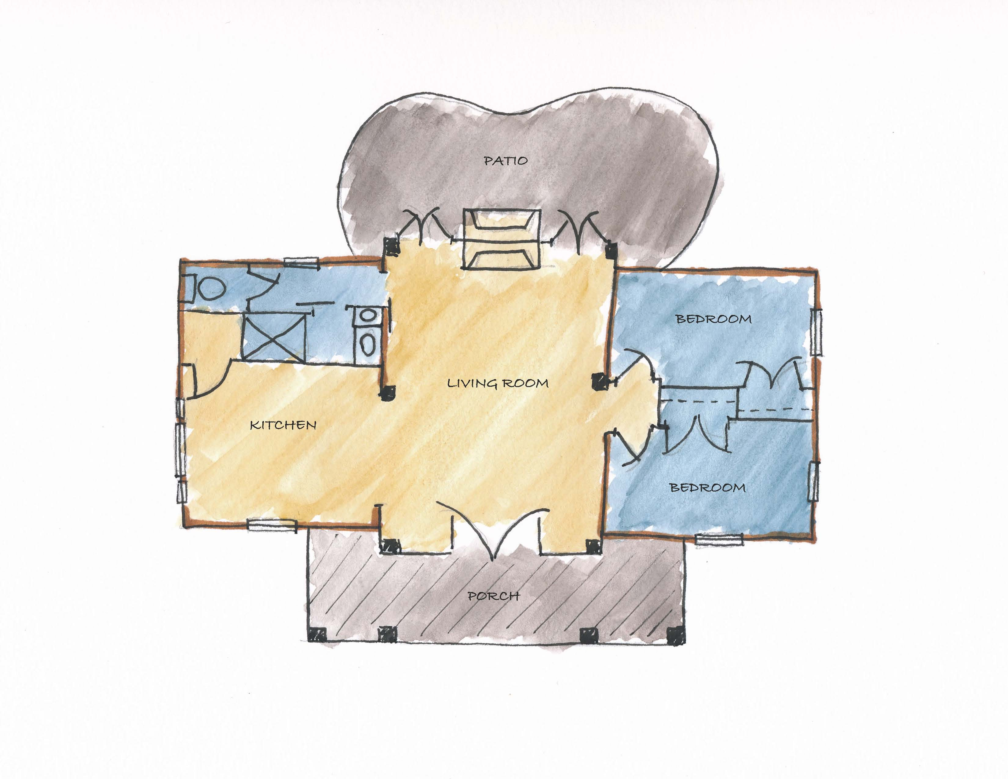 Log And Timber 2 Bed Labled Plan