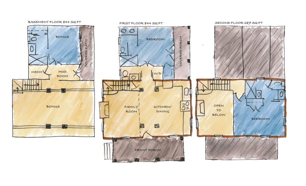 Labeled Beam House Plan